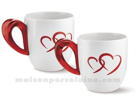 SET 2 MUGS PORCELAINE ANSE ACRYLIQUE 17.5X13CM 25CL