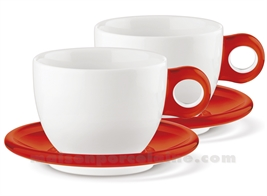 SET DE 2 PORCELAIN BREAKFAST CUPS WITH HANDLE AND ACRYLIC SAUCER 35CL
