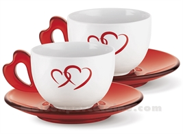 SET DE 2 PORCELAIN BREAKFAST CUPS WITH HEART HANDLE AND ACRYLIC SAUCER 35CL