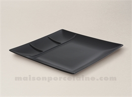 SQUARE PLATE / TRAY WITH 3 COMPARTMENTS 26X26X2.5CM STOCKHOLM BLACK