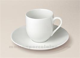 TASSE CAFE BOULE+SOUCOUPE PORCELAINE BLANCHE FLANDRE 10CL