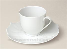 TASSE CAFE BOULE+SOUCOUPE PORCELAINE BLANCHE LIMOGES FEUILLE BRYONE 10CL