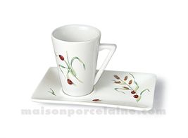 TASSE CAFE CONIQUE+SOUCOUPE RECTANGULAIRE 7CL