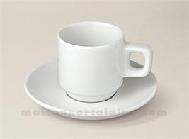 TASSE CAFE EMPILABLE+SOUCOUPE PORCELAINE BLANCHE BISTRO 8CL