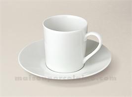 TASSE CAFE EMPIRE+SOUCOUPE PORCELAINE BLANCHE SOLOGNE 10CL