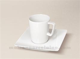 TASSE CAFE+SOUCOUPE CARREE PORCELAINE BLANCHE KHEOPS 10CL