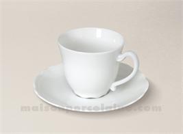 TASSE CAFE+SOUCOUPE LIMOGES PORCELAINE BLANCHE COLBERT 11CL