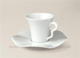 TASSE CAFE+SOUCOUPE LIMOGES PORCELAINE BLANCHE GALA 10CL