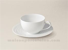 TASSE CAFE+SOUCOUPE LIMOGES PORCELAINE BLANCHE ONDE GRAVEE 14CL