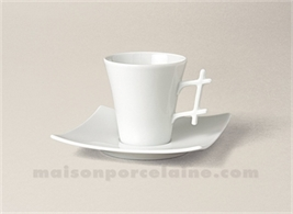 TASSE CAFE+SOUCOUPE LIMOGES PORCELAINE BLANCHE OXYGENE 10CL