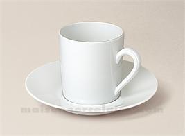 TASSE CAFE+SOUCOUPE PORCELAINE BLANCHE LIMOGES EMPIRE 10CL