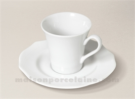 TASSE CAFE+SOUCOUPE PORCELAINE BLANCHE SISSI 5X7 9CL