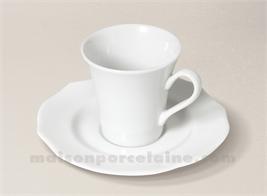 TASSE CAFE+SOUCOUPE PORCELAINE BLANCHE SISSI 5X7 9CL