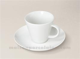 TASSE CAFE+SOUCOUPE PORCELAINE BLANCHE TRAPEZE