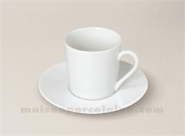 TASSE CAFE+SOUCOUPE PORCELAINE BLANCHE ZEN 5X7 9CL