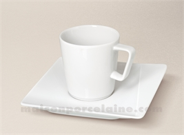 TASSE THE+SOUCOUPE CARREE PORCELAINE BLANCHE KHEOPS 19CL