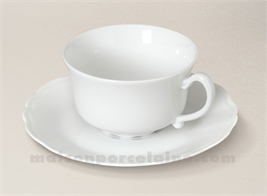 TASSE THE+SOUCOUPE LIMOGES PORCELAINE BLANCHE COLBERT 16CL