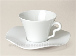 TASSE THE+SOUCOUPE LIMOGES PORCELAINE BLANCHE GALA 17CL