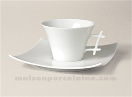 TASSE THE+SOUCOUPE LIMOGES PORCELAINE BLANCHE OXYGENE 17CL
