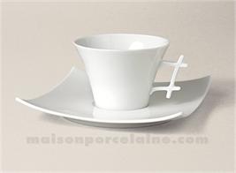 TASSE THE+SOUCOUPE LIMOGES PORCELAINE BLANCHE OXYGENE 17CL