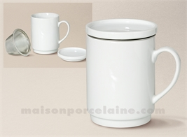 TASSE TISANE PORCELAINE BLANCHE EMPILABLE+FILTRE METAL 30CL