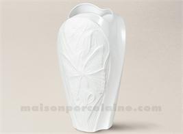 VASE BISCUIT ET EMAIL PORCELAINE DE LIMOGES CELTICA-PAPILLON H33-19X11CM