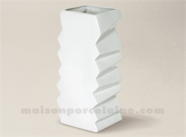 VASE LIMOGES PORCELAINE BLANCHE ACCORDEON 14X11.5X28 2.8L