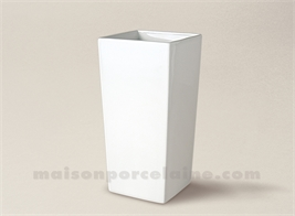 VASE PORCELAINE BLANCHE CONIQUE CARRE MM 19X9,5