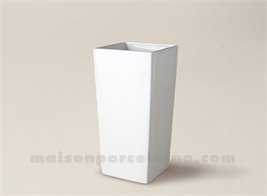 VASE PORCELAINE BLANCHE CONIQUE CARRE PM 15X7